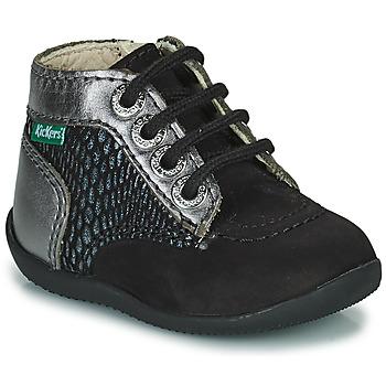 Cipők Lány Csizmák Kickers BONZIP-2 Fekete  / Ezüst