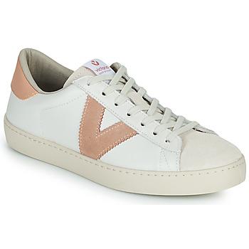 Cipők Női Rövid szárú edzőcipők Victoria BERLIN PIEL CONTRASTE Fehér / Rózsaszín