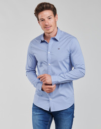 Ruhák Férfi Hosszú ujjú ingek Tommy Jeans TJM ORIGINAL STRETCH SHIRT Kék