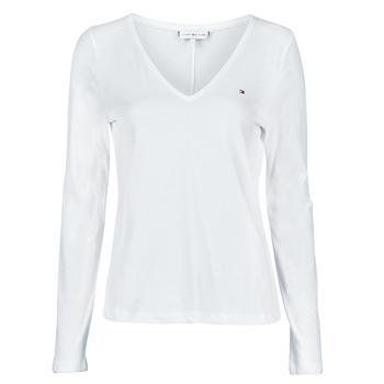 Ruhák Női Hosszú ujjú pólók Tommy Hilfiger REGULAR CLASSIC V-NK TOP LS Fehér