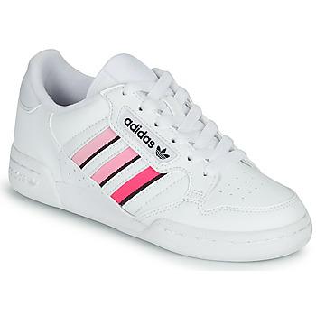 Cipők Lány Rövid szárú edzőcipők adidas Originals CONTINENTAL 80 STRI J Fehér / Rózsaszín