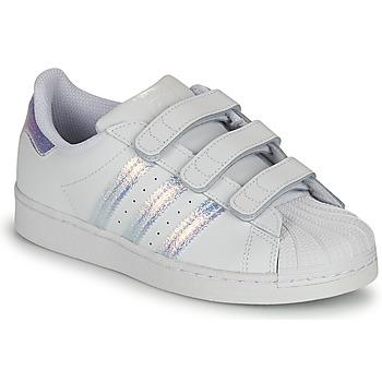 Cipők Gyerek Rövid szárú edzőcipők adidas Originals SUPERSTAR CF C Fehér / Ezüst