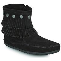 Cipők Női Csizmák Minnetonka DOUBLE FRINGE SIDE ZIP BOOT Fekete