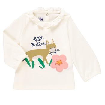 Ruhák Lány Hosszú ujjú pólók Petit Bateau ENLEVE Fehér