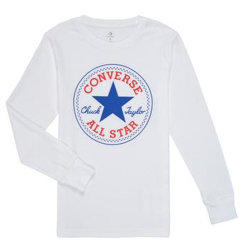 Ruhák Fiú Hosszú ujjú pólók Converse CHUCK PATCH LONG SLEEVE TEE Fehér