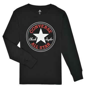 Ruhák Fiú Hosszú ujjú pólók Converse CHUCK PATCH LONG SLEEVE TEE Fekete