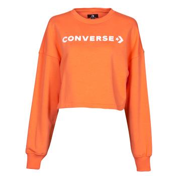 Ruhák Női Pulóverek Converse EMBROIDERED WORDMARK CREW Narancssárga