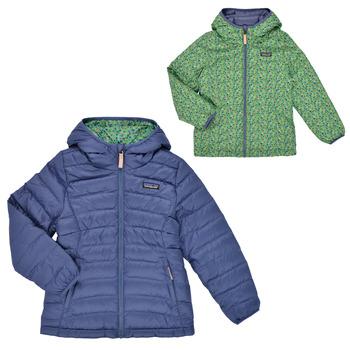 Ruhák Lány Steppelt kabátok Patagonia REVERSIBLE DOWN SWEATER HOODY Kék