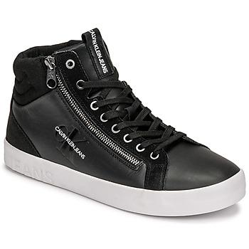 Cipők Férfi Magas szárú edzőcipők Calvin Klein Jeans VULCANIZED MID LACEUP Fekete