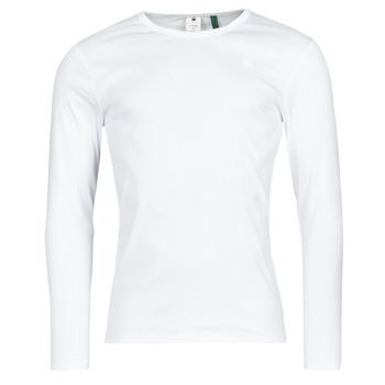 Ruhák Férfi Hosszú ujjú pólók G-Star Raw BASE R T LS 1-PACK Fehér