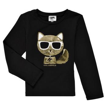 Ruhák Lány Hosszú ujjú pólók Karl Lagerfeld AMETHYSTE Fekete