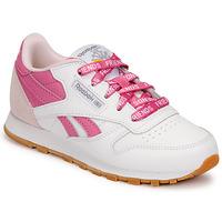 Cipők Gyerek Rövid szárú edzőcipők Reebok Classic CL LTHR Fehér / Rózsaszín