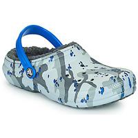 Cipők Fiú Klumpák Crocs CLASSIC LINED CAMO CG K Szürke / Kék