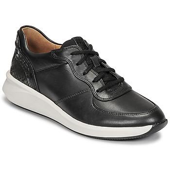 Cipők Női Rövid szárú edzőcipők Clarks UN RIO SPRINT Fekete