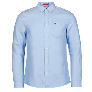 Ruhák Férfi Hosszú ujjú ingek Tommy Jeans TJM LINEN BLEND SHIRT Kék