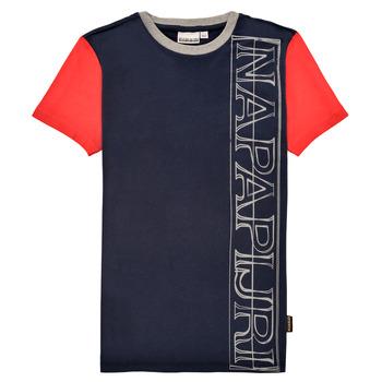 Ruhák Fiú Rövid ujjú pólók Napapijri SAOBAB Tengerész / Piros