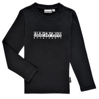 Ruhák Fiú Hosszú ujjú pólók Napapijri S-BOX LS Fekete