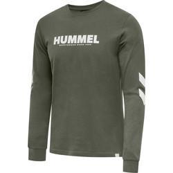 Ruhák Férfi Hosszú ujjú pólók Hummel T-shirt manches longues  hmlLEGACY vert kaki/blanc