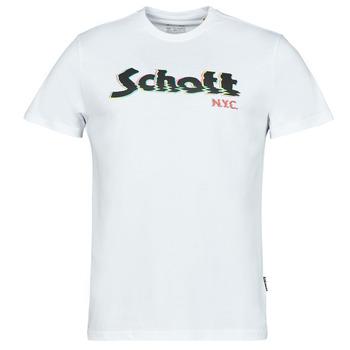 Ruhák Férfi Rövid ujjú pólók Schott TSLOGOELEK Fehér