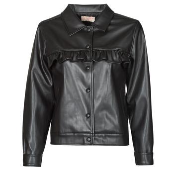 Ruhák Női Bőrkabátok / műbőr kabátok Moony Mood PABLIS Fekete