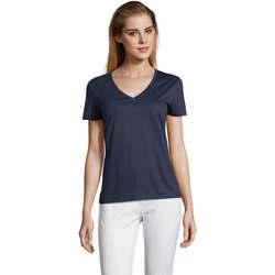 Ruhák Női Rövid ujjú pólók Sols MOTION camiseta de pico mujer Azul