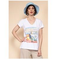 Ruhák Női Blúzok Fashion brands 8301-COMBI-SKY-BLUE Kék