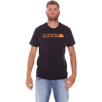 Ruhák Férfi Rövid ujjú pólók Sundek M049TEJ7800 Fekete