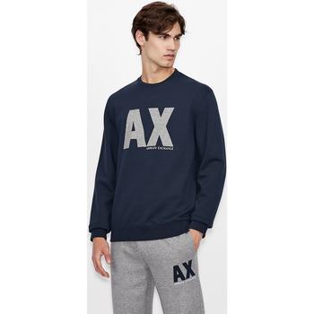 Ruhák Pulóverek EAX Sweatshirt col rond  6KZMFG-ZJ5UZ navy bleu marine