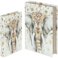 Otthon Kosarak és dobozok Signes Grimalt Elefántkönyv Dobozok Set 2U Multicolor