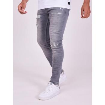 Ruhák Férfi Nadrágok Project X Paris Pantalon Jeans Slim effet usé gris foncé
