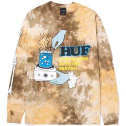 Ruhák Férfi Hosszú ujjú pólók Huf T-shirt mess tiedye ls Barna