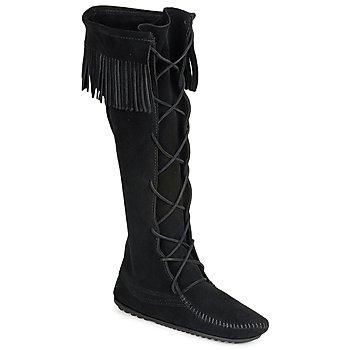 Cipők Női Városi csizmák Minnetonka FRONT LACE HARDSOLE KNEE HI BOOT Fekete