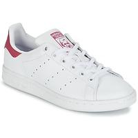 Cipők Gyerek Rövid szárú edzőcipők adidas Originals STAN SMITH J Fehér / Rózsaszín