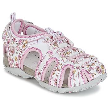 Cipők Lány Sportszandálok Geox S.ROXANNE C Fehér / Rózsaszín