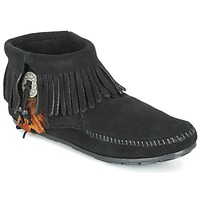 Cipők Női Csizmák Minnetonka CONCHO FEATHER SIDE ZIP BOOT Fekete