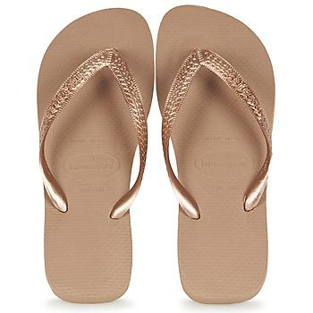 Cipők Női Lábujjközös papucsok Havaianas TOP METALLIC Rózsaszín / Arany