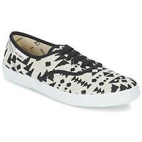 Cipők Női Rövid szárú edzőcipők Victoria INGLES GEOMETRICO LUREX Bézs / Fekete