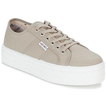 Shoes Női Rövid szárú edzőcipők Victoria BLUCHER LONA PLATAFORMA Bézs