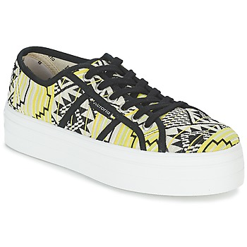 Cipők Női Rövid szárú edzőcipők Victoria BASKET ETNICO PLATAFORMA Fekete  / Citromsárga