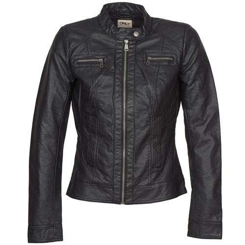 Ruhák Női Bőrkabátok / műbőr kabátok Only BANDIT Fekete
