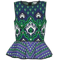 Ruhák Női Trikók / Ujjatlan pólók Manoush JACQUARD OOTOMAN Kék / Fekete  / Zöld