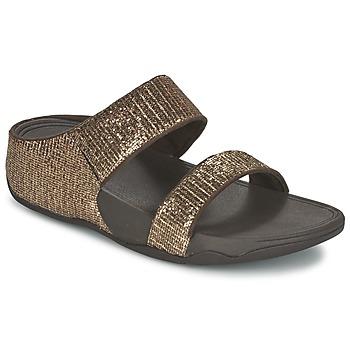 Cipők Női Papucsok FitFlop LULU SUPERGLITZ SLIDE Bronz