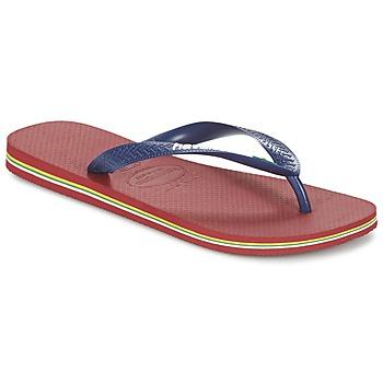 Cipők Lábujjközös papucsok Havaianas BRASIL LOGO Tengerész / Piros