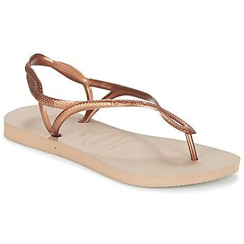 Cipők Női Lábujjközös papucsok Havaianas LUNA Bronz