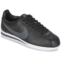 Cipők Férfi Rövid szárú edzőcipők Nike CLASSIC CORTEZ LEATHER Fekete  / Szürke