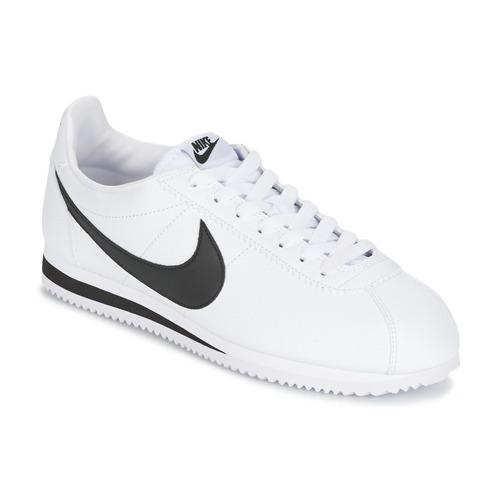 Cipők Férfi Rövid szárú edzőcipők Nike CLASSIC CORTEZ LEATHER Fehér   Fekete 16813beb4c