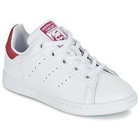 Cipők Lány Rövid szárú edzőcipők adidas Originals STAN SMITH EL C Fehér / Rózsaszín