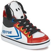 Cipők Gyerek Magas szárú edzőcipők Feiyue DELTA MID PEANUTS Fehér / Fekete  / Piros