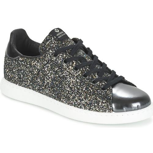 Cipők Női Rövid szárú edzőcipők Victoria DEPORTIVO BASKET GLITTER Fekete