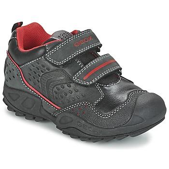 Cipők Fiú Rövid szárú edzőcipők Geox NEW SAVAGE BOY Fekete  / Piros